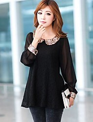 Women's Lace Black T-shirt/Shirt , Casual/Lace/Party/Plus Sizes/Sexy/Print Peter Pan Collar Long Sleeve Sequins