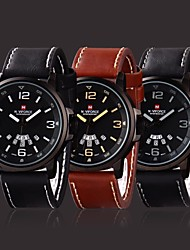 Men's High-End Military Style Date and Week Display Leather Strap Quartz Wrist Watch (Assorted Colors)