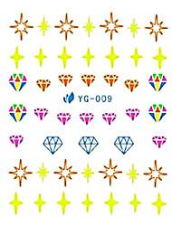 yemannvyou®2pcs estrella&pegatinas diamante diseño de uñas de arte de marca de agua fluorescente YG-009