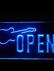 Open Guitar Music Advertising LED Light Sign