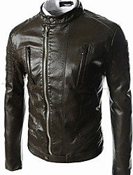 Mark Men's Casual Stand Collar Leather Jacket