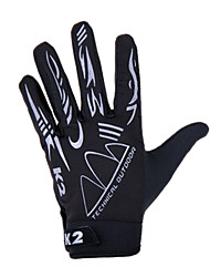 KORAMAN Unisex Cycling Gloves Full Finger Black Breathable Spandex Anti-skid Wearproof Gloves