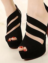 Damenschuhe drei Gurt Topline Pfennigabsatz Peep Toe Sandalen Schuhe