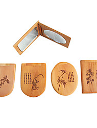 1 pc portable rétro en bois de pliage simple face et profil envoient miroir cosmétique au hasard