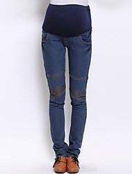 Elastic cintura alta Maternidade Denim Calças Mulher grávida Character joelho Calças Jeans