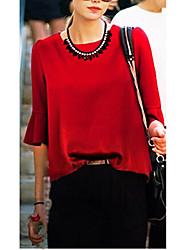 Феня женщин шею сплошной цвет ruffly блузка