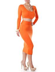 vestido de dos piezas de moda sexy de color sólido oomph de las mujeres