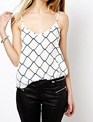 Women's Print White Vest , Strap Sleeveless