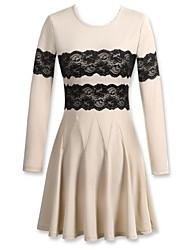Girocollo di Mingfan dell'annata delle donne pieghettato Crochet Lace manica lunga Midi Dress