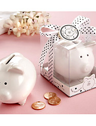 Lovely Ceramic White Pig Bank