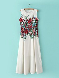 Women's Dress Midi Sleeveless White Summer