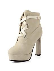 Beflockung Frauen Chunky Heel Platform Booties / Ankle Boots (weitere Farben)