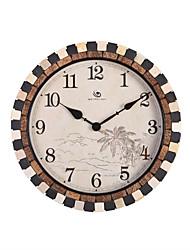 """18.4 """"H Страна Стиль Кирпич Край Кокосовое Дерево Pattern Polyresin настенные часы"""