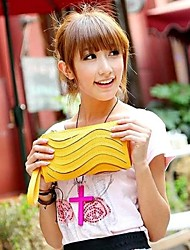 Women's Candy Colors Ripple Moire PU Leather Clutches