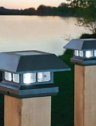 2-LED White Solar Post Cap Light Deck Fence Mount Outdoor Garden Fence Lamp