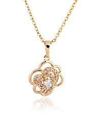 Women's Gold Plated Cut Flowers Elegant Design Zircon   Necklace