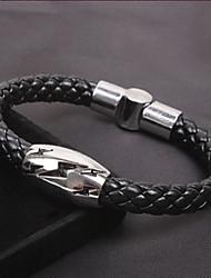 Fashion eigen stijl Heren Verlichting Snake Twine Black Alloy Leather Chain & Link Bracelet (1 Pc)