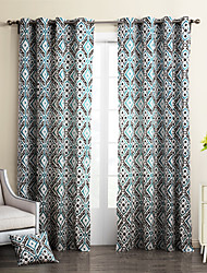 (Two Panels Grommet Top) Regetta Blue Fret Work Cotton Canvas Curtain Panels
