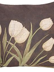 """createforlife ® 18 """"x 18"""" square ruhigen Tulpe Baumwolle / Leinen dekorative Kissen"""