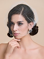 Wedding Veil One-tier Blusher Veils / Birdcage Veils Cut Edge 10-20cm Tulle White WhiteA-line, Ball Gown, Princess, Sheath/ Column,