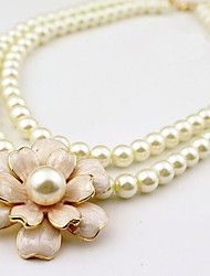 Korean Style Fashion Pearl Camellia Double Necklace