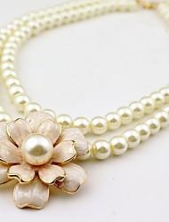 Estilo coreano de moda collar de perlas de doble camelia