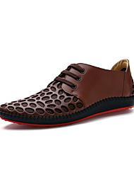plana calcanhar oxfords conforto dos homens de couro de vaca com sapatos de amarrar (mais cores)