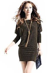 Women's Casual/Daily Sexy Bodycon Dress,Solid Round Neck Mini Long Sleeve Blue / Gold / Silver Cotton / Others