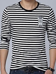 Men's Round Neck Casual Long Sleeve Stripes T-shirts
