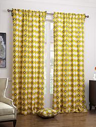 (Two Panels Rod Pocket) Artistic Yellow Overlapping Rhombus Lattice Cotton Canvas Curtain Panels