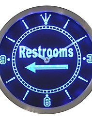 Restroom Left Arrow Display Toilet Neon Sign LED Wall Clock