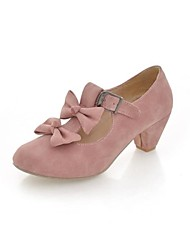 Women's Spring / Summer / Fall Heels / Round Toe / Comfort Leatherette Outdoor / Dress Low Heel Bowknot / BuckleBlack / Blue / Pink / Red