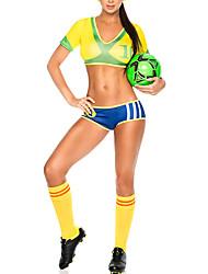 Brazil Soccer Cheerleader Yellow Polyester Sexy Uniform