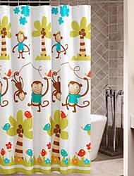 Dibujos animados lindo jugar Monos Cortina de ducha