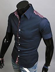 Tizeland Men's Lapel Neck Check Short Sleeve Shirt