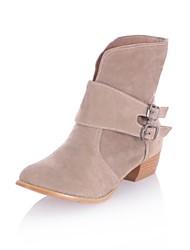 Tacón grueso de la Mujer Flocado Mediados de-Becerro Boots (más colores)