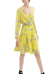 Women's Holiday Sexy Dress,Floral Above Knee Long Sleeve Yellow Summer