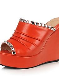 Damen Keilabsatz Schuhe Slipper Slide (weitere Farben)