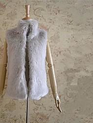 Women's Stand Collar Sleeveless Solid Elegant Fur Coat