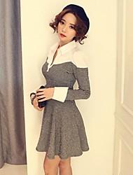 Women 's Round Collar Knitwear Splicing  Grid  Long Sleeve Dress