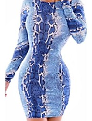 Vestido de impressão da Mulher Azul Snakeskin com escavar Voltar