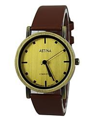 Women's Bronze Style Leather Band Quartz Wrist Watch