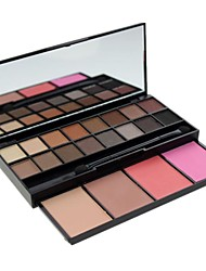 Professional 20 Color Eyeshadow Palette Pigment Eye Shadow + Blusher with Mirror & Double Ended Brush
