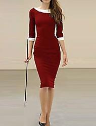 Botão Ol de HZ Mulheres Decoração slim-encaixe vestido longo