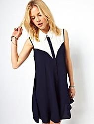 Frauen Revers Kontrast Farbe Chiffon ärmellose Weste Kleid