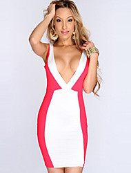 Girls Night Women's Color Block Red / Black Dresses , Sexy / Casual / Party Mid Rise Sleeveless