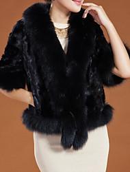 BZQ Элегантная мода Черный искусственного меха Пальто