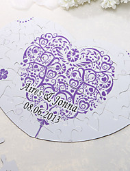 Personalized Heart Shaped Puzzle - Blumendruck