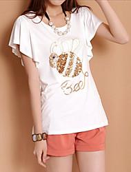 J&K Women's Model Sequin Ruffle Short Sleeve T Shirt