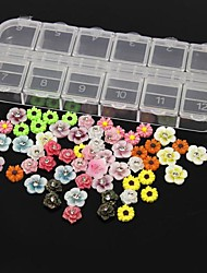 60PCS 12 Design Random Acrylic Resin Flower Set Nail Art Decoration